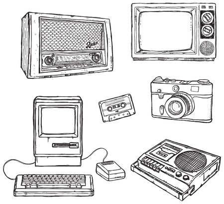 Old media equipment Illustration