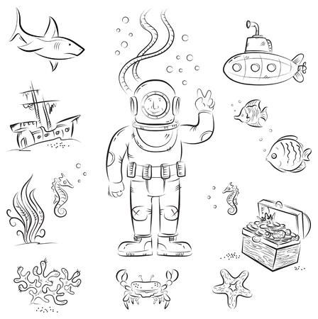 submarino: Sketch juego de dibujos animados divertido izolated objetos en el tema de buceo bajo el agua Vectores