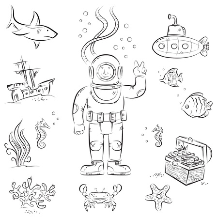 cartoon submarine: Sketch set of funny cartoon izolated objects on underwater diving theme Illustration