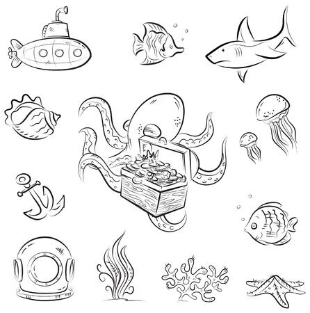 深い水中世界をテーマにベクターの漫画のセット  イラスト・ベクター素材