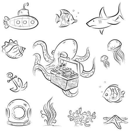 Set of vector cartoons on deep underwater world theme Vector