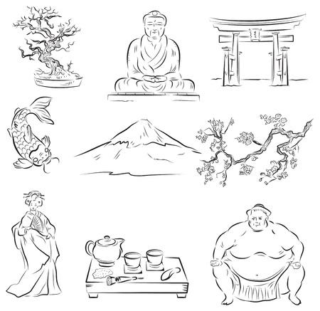 floração: S�mbolos da cultura japonesa Ilustração