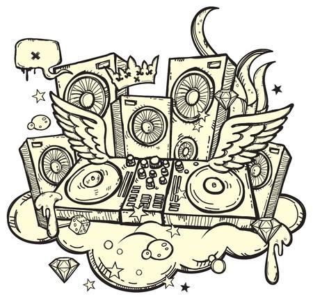 ghetto: Sfondo alla moda con DJ giradischi su sfondo bianco