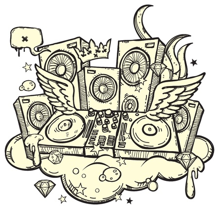turntables: Stylish background with DJs turntable on white background Illustration