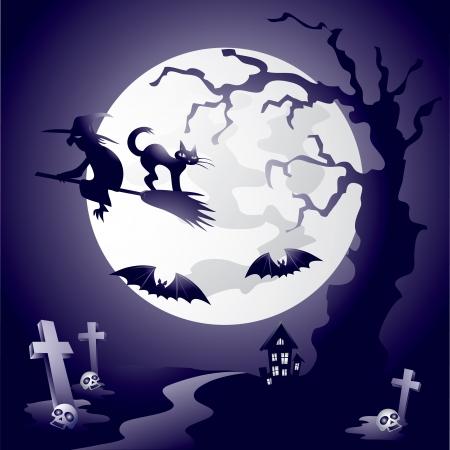 Illustration on the Halloween Night theme.