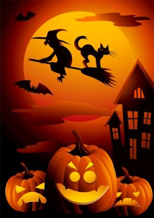 twilight: Vector illustration on the Halloween Night theme  Illustration