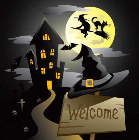 witch silhouette: illustration on the Halloween Night theme.