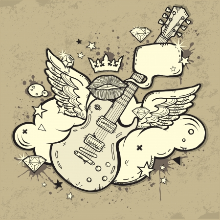 Grunge RocknRoll Guitar with wings on the cloud Vector