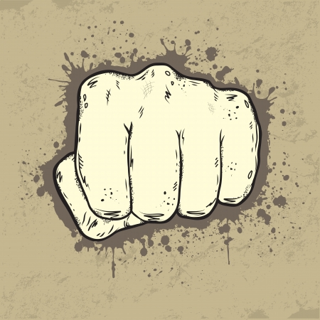 Beautifull illustration of fist in grunge style Vector