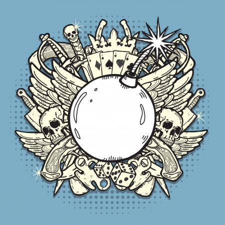 skull tattoo: Stijlvolle achtergrond, gemaakt van gemengde grafische elementen op het thema van het gokken, wapens, en criminaliteit