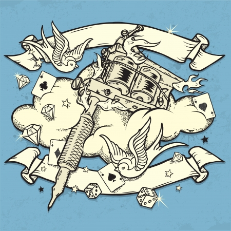 tattoo art: Grunge Tattoo Machine Illustration