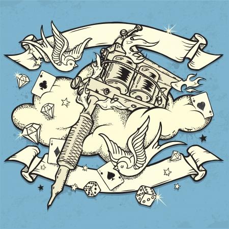 tatouage oiseau: Machine de tatouage grunge