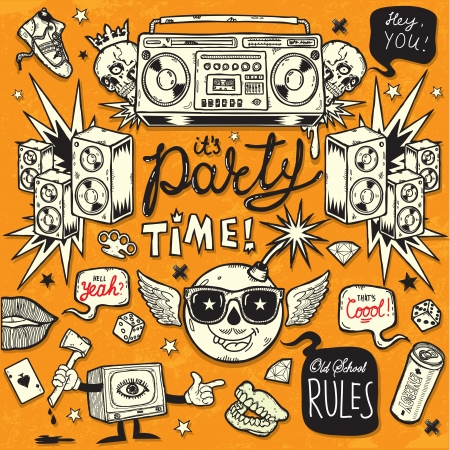 Old School Style Party Illustration