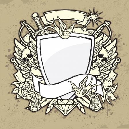 brigand: Grunge Label with Shield Illustration