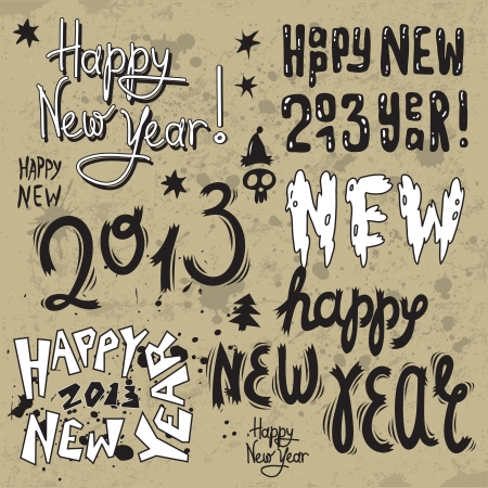 new year greeting design with words Happy New Year 2013  Vector