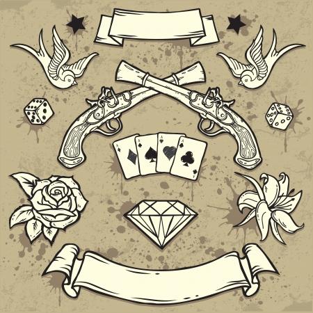 Set di elementi vecchi Tattoo Scuola Vettoriali