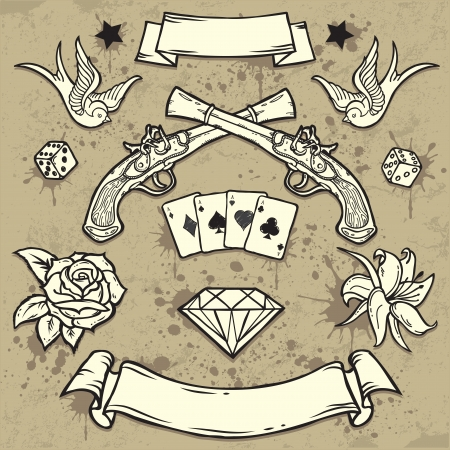 Set of Old School Tattoo Elements Stock Vector - 16899359