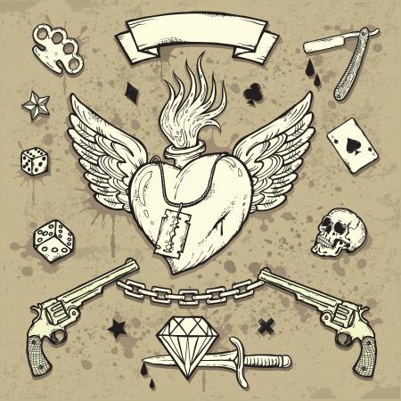 tragos: Conjunto de elementos antiguos School Tattoo