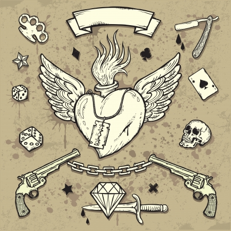 ace of diamonds: Set of Old School Tattoo Elements