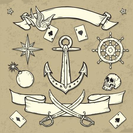ace of diamonds: Set of Old School Tattoo Elements