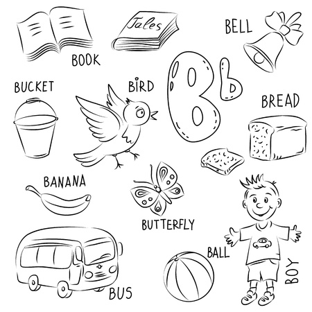 word game: Set of pictures on Alphabet theme Illustration