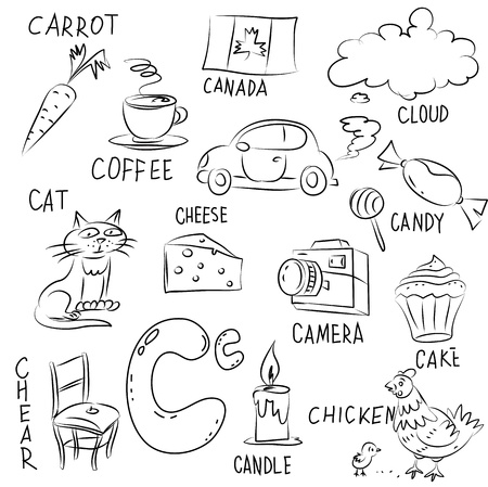 Set of pictures on Alphabet theme Vector