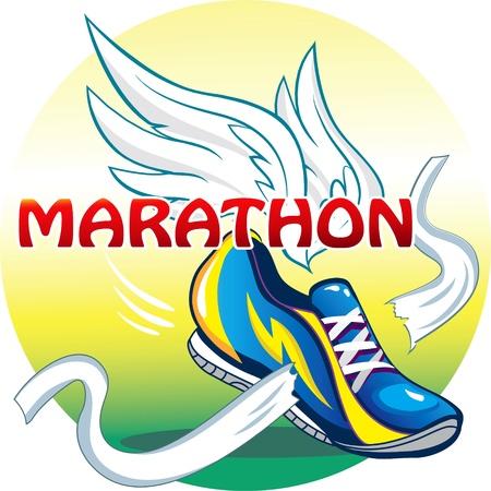 step fitness: vector illustartion of the emblem of the marathon in original style