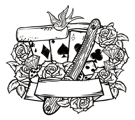 blade: Stylish illustration in old school tattoo style with razor, four aces and seven red roses