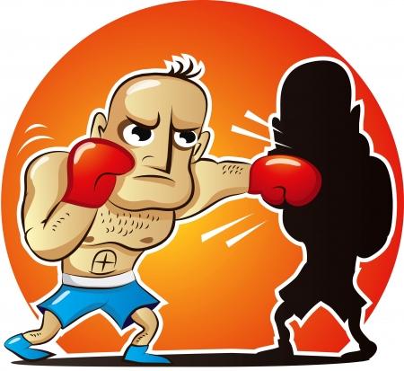 VeVector illustratie van cartoon bokser vecht eigen shadowctor illustratie van cartoon bokser vecht eigen schaduw Stock Illustratie