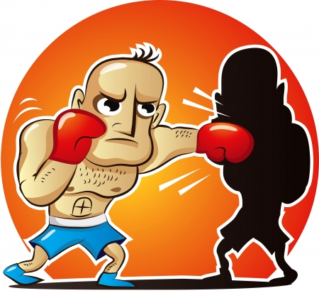 VeVector illustration of cartoon boxer fights own shadowctor illustration of cartoon boxer fights own shadow Vector