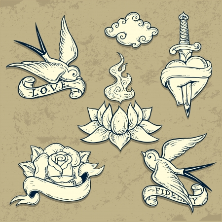 Set of Old School Tattoo Elements with love symbols