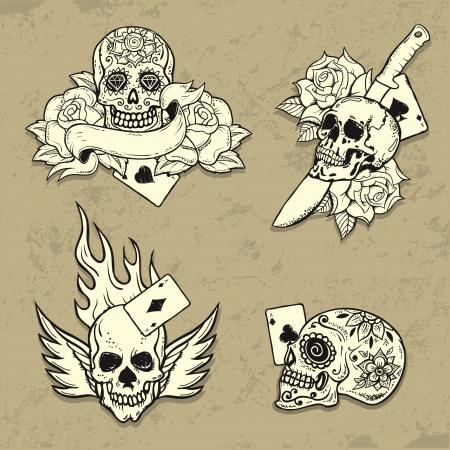 두개골과 함께 올드 스쿨 문신 요소 집합 일러스트