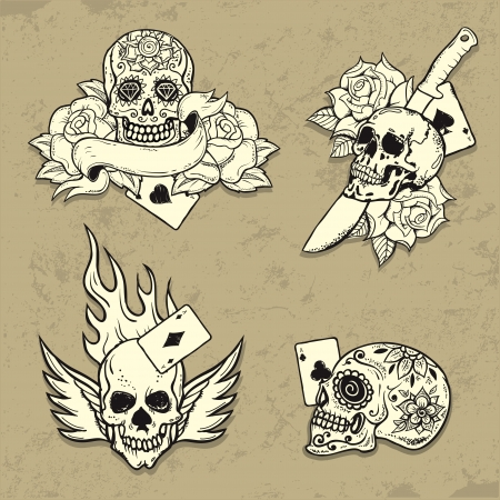 Set of Old School Tattoo Elements with skulls Illustration