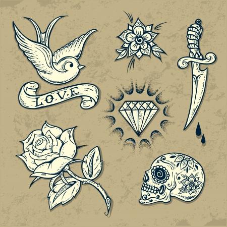 golondrinas: Conjunto de Elementos antiguos tatuaje de la escuela con rosas y diamantes