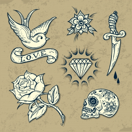 tattoo rosa: Set di Old School Tattoo elementi con rose e diamanti Vettoriali