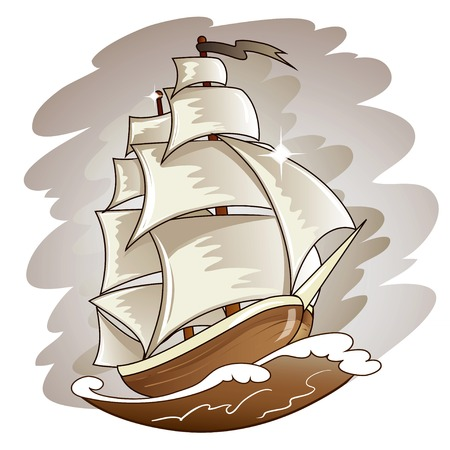 Sailing boat floating on water surface. Vector color illustration. Vector