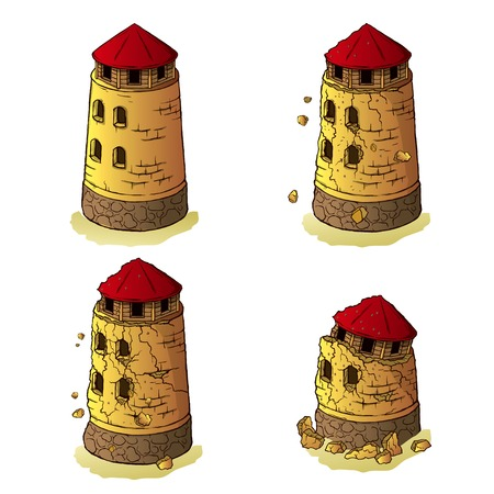 Process of destruction of the defensive tower on a transparent background