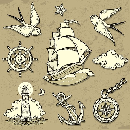 Set of vector illustrations on the theme of sea travel in tattoo style