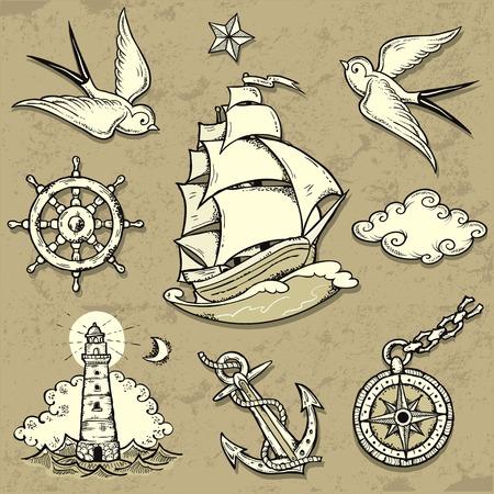 voile: Jeu de illustrations vectorielles sur le th�me de la mer Voyage dans le style de tatouage