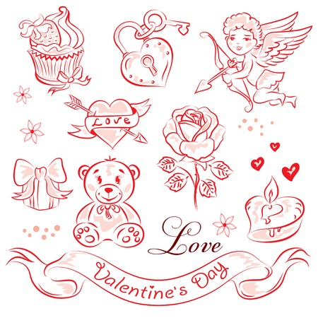 diamond candle: A set of high-quality vector clip-art on the theme of Valentines Day.