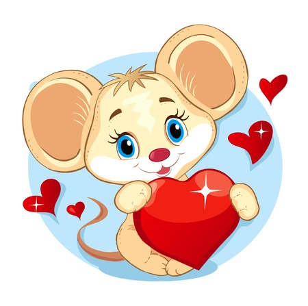 embroidery designs: illustration of Cute Little Mouse holding a Heart