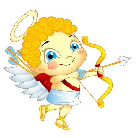 cherub: Cute Cupid with bow and arrow isolated