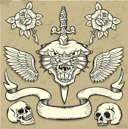 traditional weapon: Set of Old School Tattoo Elements with roses and skulls Illustration