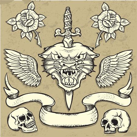 Set van Old School Tattoo Elementen met rozen en schedels