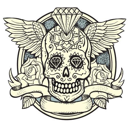 calavera caricatura: ilustraci�n vectorial de la Calavera, Diamante y rosas Vectores