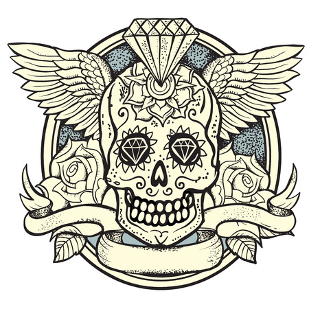 traditional weapon: vector illustration of Calavera, Diamond and roses