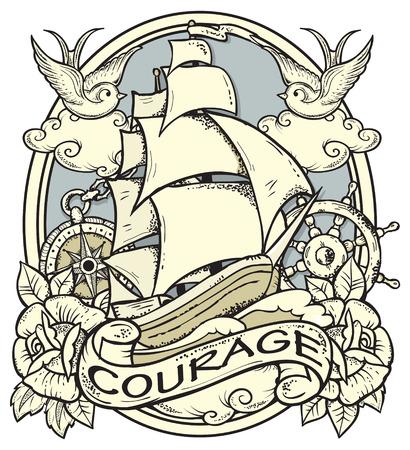 Ilustración vectorial de los buques y marineros atributos
