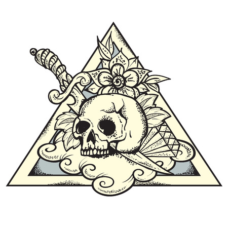 roses and blood: Vector Illustration of Skull and knife on triangle