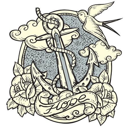 tatouage: Illustration sur le thème nautique avec Anchor and Roses