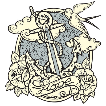 classic tattoo: Vector Illustration on Nautical theme with Anchor and Roses